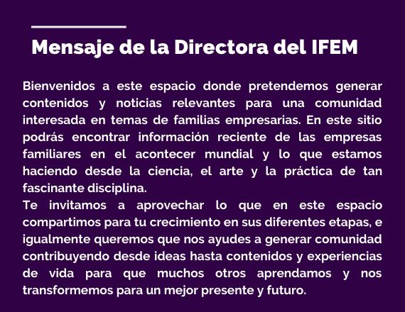 Mensaje de la directoria del IFEM
